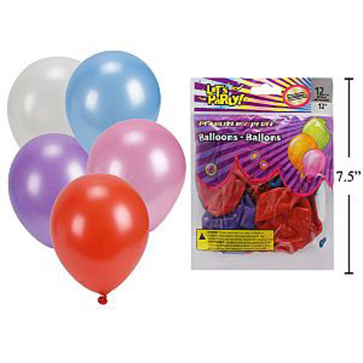 Picture of Baloons 12in 12Pcs Metalic - No 60326