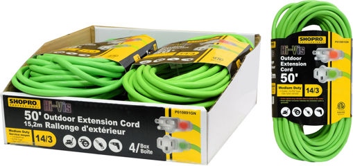 Picture of Pwr Ext Cord Od 14/3 50Ft Hi-Vis - No P010891GN
