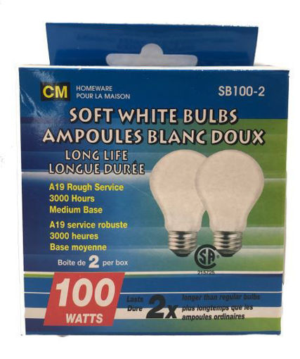 Picture of Bulbs Soft White 100W 2Pk - No SB100W-2