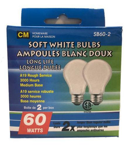 Picture of Bulbs Soft White 60W 2Pk - No SB60W-2