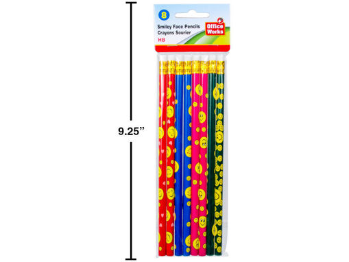 Picture of 8Pc Smiley Face Pencils W-Erasers - No 20390