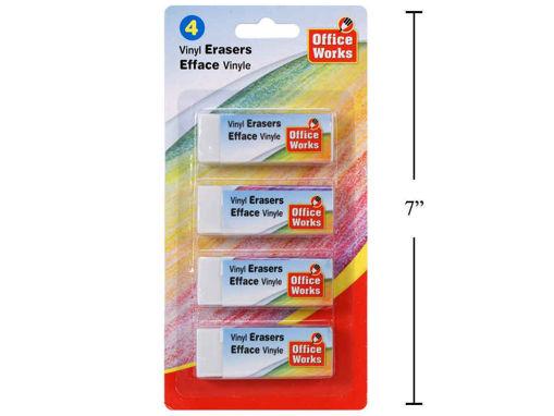 Picture of 4-Pc White Vinyl Eraser - No 30430